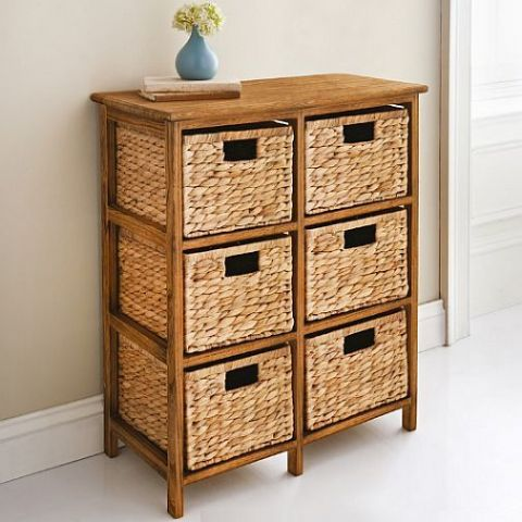Wicker Basket Chest of 6 Storage Drawers